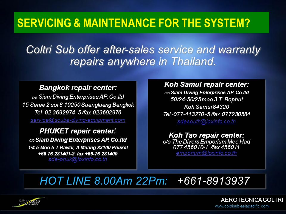 SERVICING & MAINTENANCE FOR THE SYSTEM