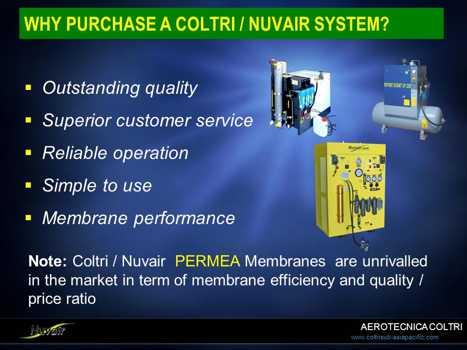 WHY PURCHASE A COLTRI / NUVAIR SYSTEM