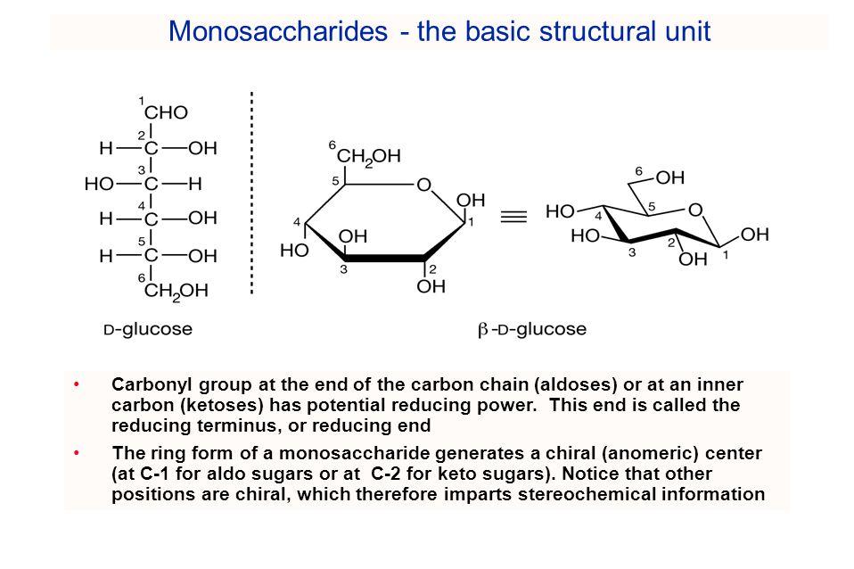 Monosaccharides - the basic structural unit