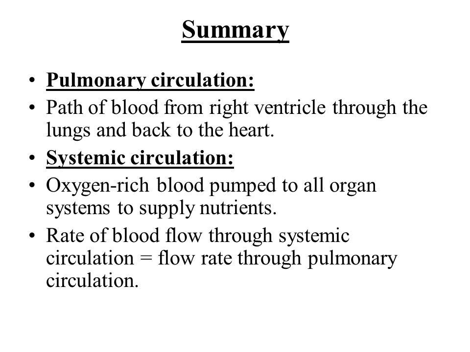 Summary Pulmonary circulation:
