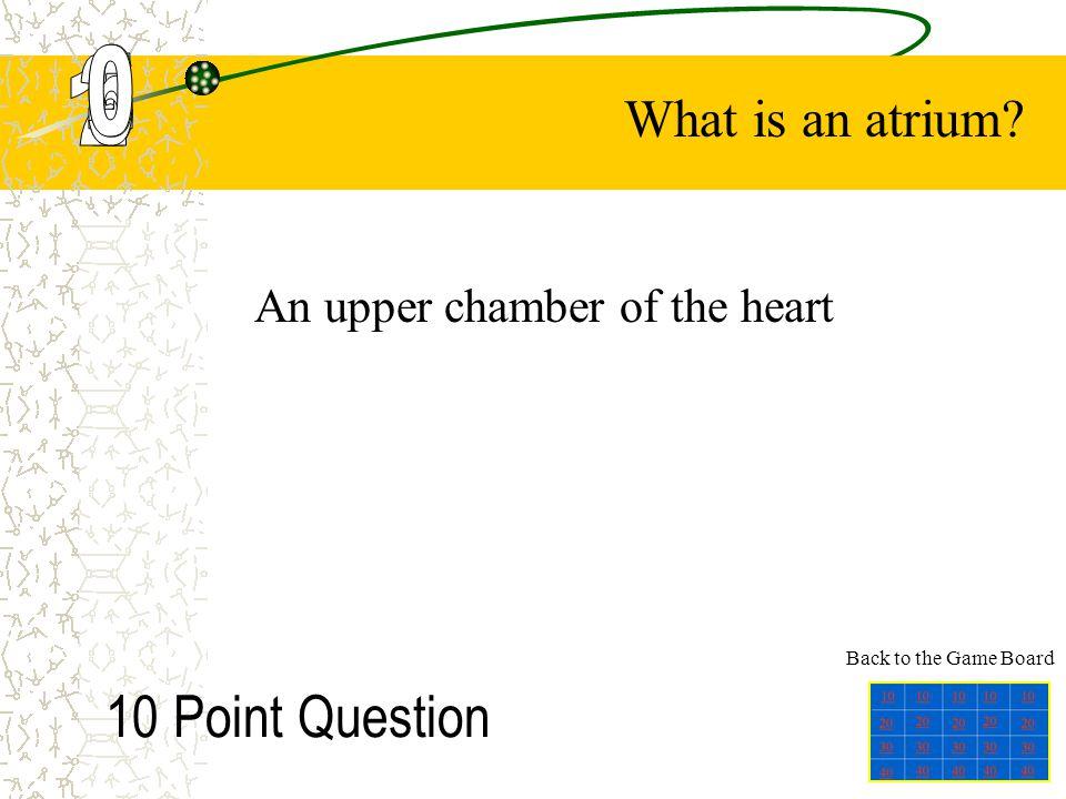 An upper chamber of the heart