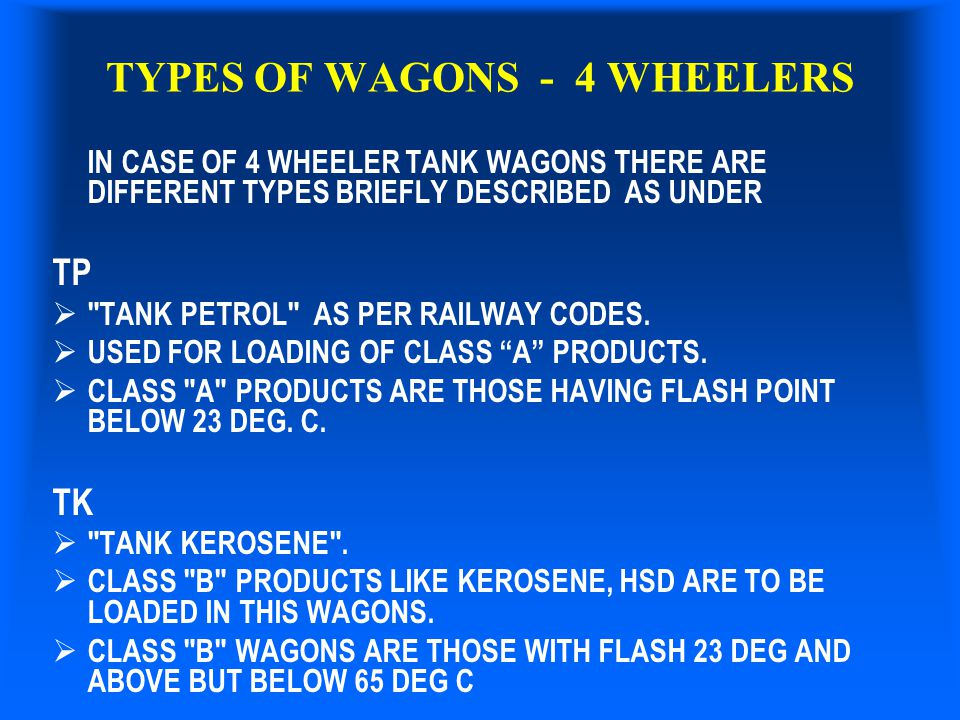 TYPES OF WAGONS - 4 WHEELERS