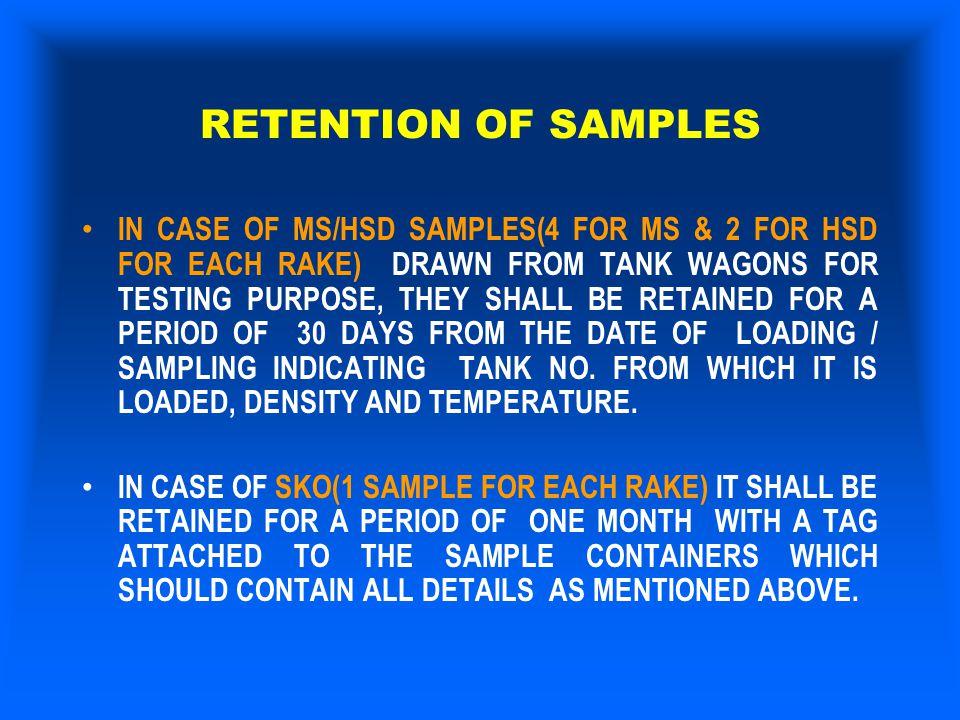 RETENTION OF SAMPLES