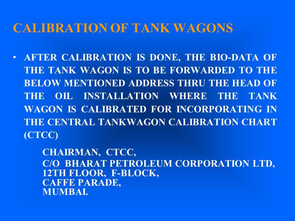 CALIBRATION OF TANK WAGONS