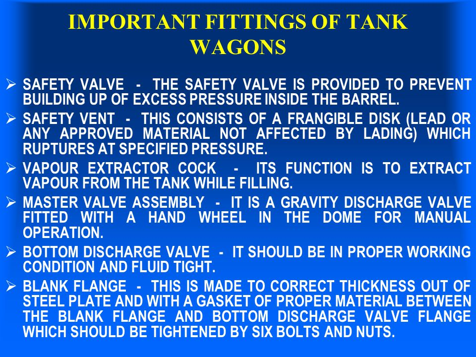 IMPORTANT FITTINGS OF TANK WAGONS