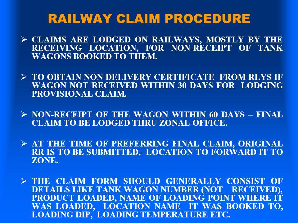 RAILWAY CLAIM PROCEDURE