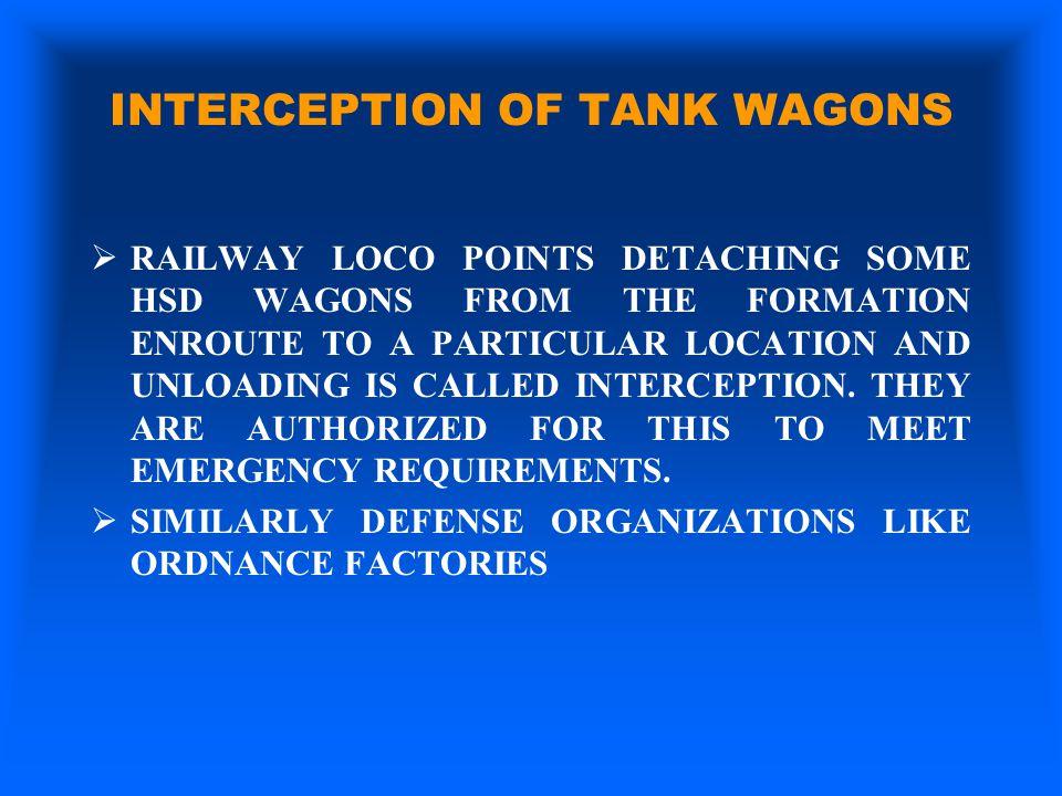 INTERCEPTION OF TANK WAGONS