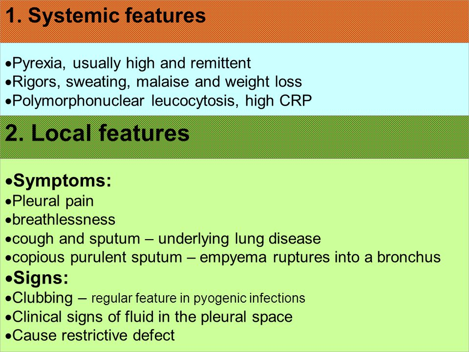 2. Local features 1. Systemic features Symptoms: Signs: