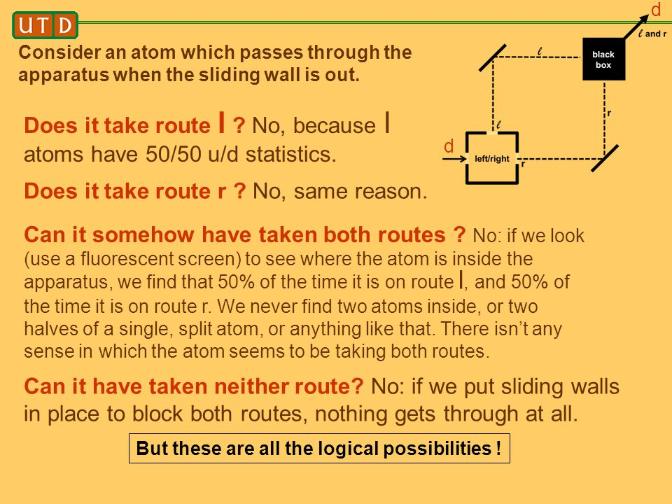 Does it take route l No, because l atoms have 50/50 u/d statistics.