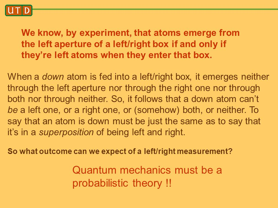 Quantum mechanics must be a probabilistic theory !!