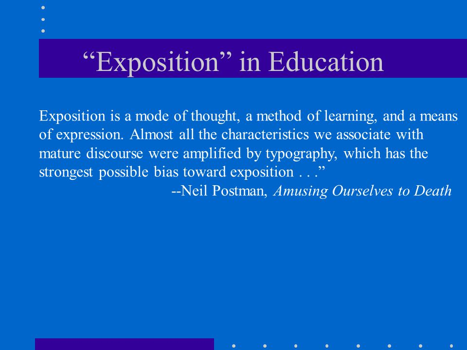 Exposition in Education