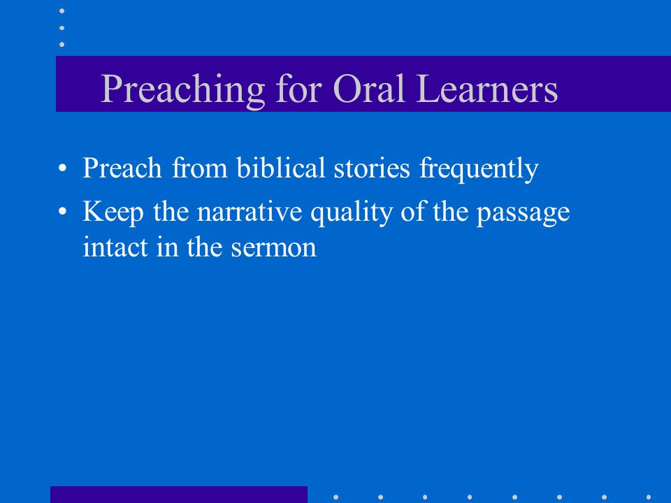 Preaching for Oral Learners