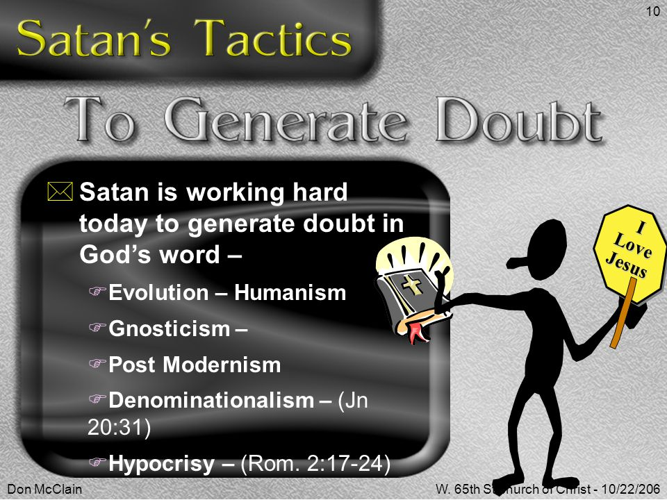 Satan is working hard today to generate doubt in God's word –