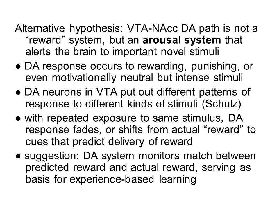 Alternative hypothesis: VTA-NAcc DA path is not a reward system, but an arousal system that alerts the brain to important novel stimuli