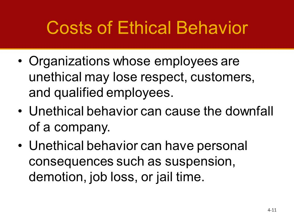 Costs of Ethical Behavior
