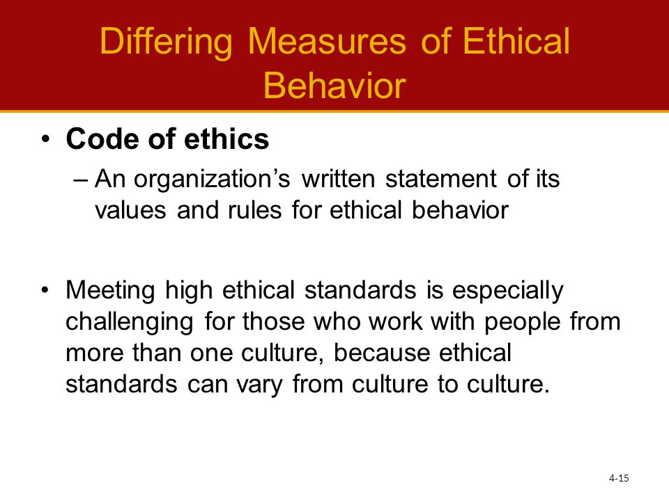 Differing Measures of Ethical Behavior