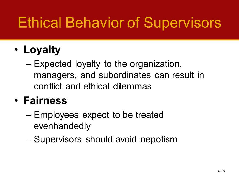 Ethical Behavior of Supervisors