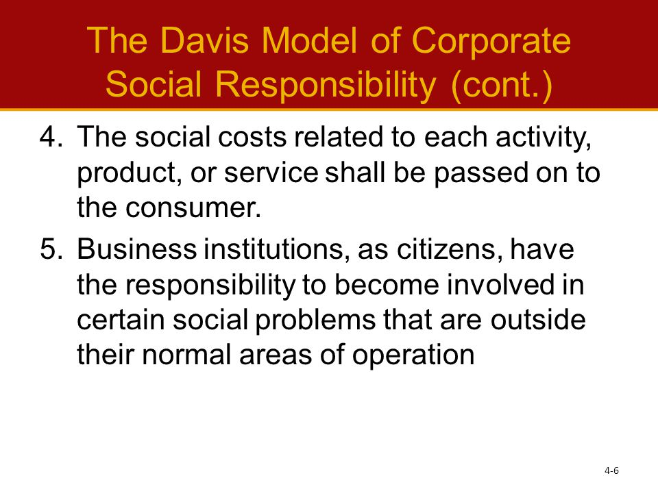The Davis Model of Corporate Social Responsibility (cont.)