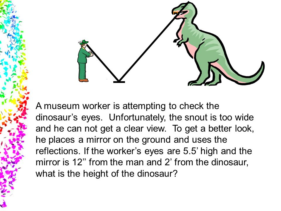 A museum worker is attempting to check the dinosaur's eyes