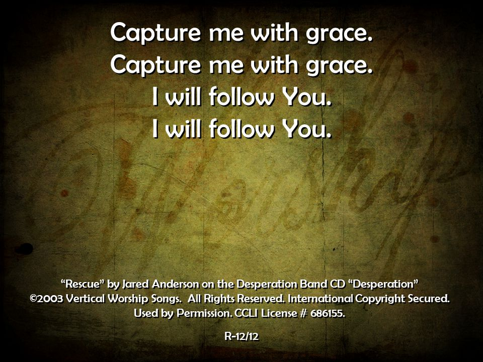 Capture me with grace. I will follow You.