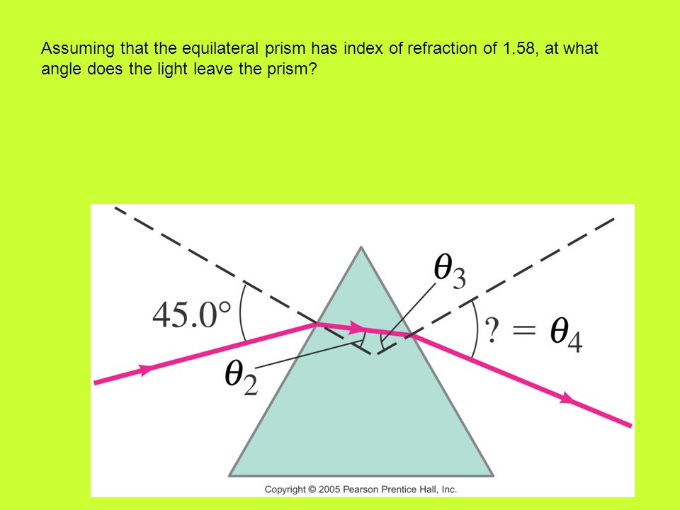 Assuming that the equilateral prism has index of refraction of 1