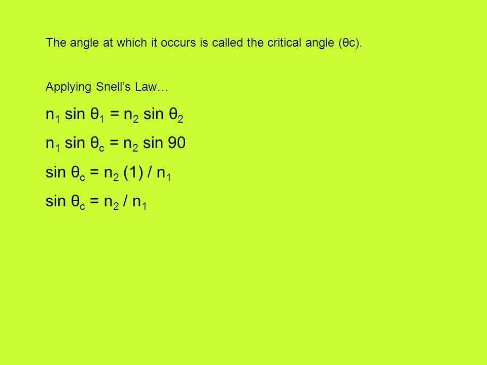 n1 sin θ1 = n2 sin θ2 n1 sin θc = n2 sin 90 sin θc = n2 (1) / n1