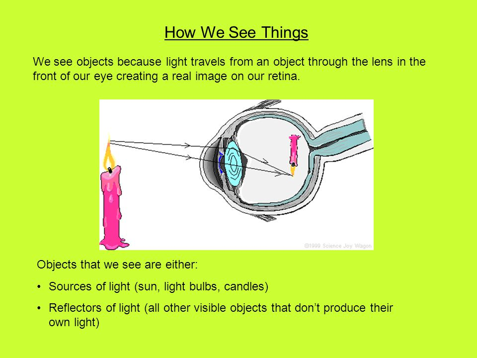 How We See Things We see objects because light travels from an object through the lens in the front of our eye creating a real image on our retina.