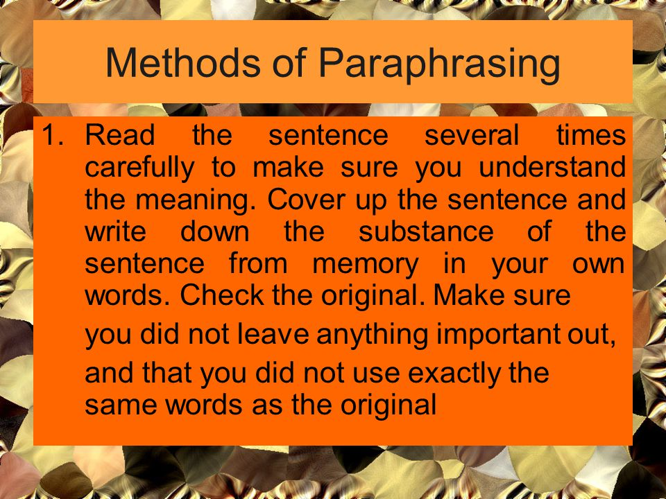 Methods of Paraphrasing