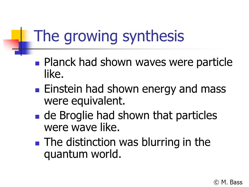 The growing synthesis Planck had shown waves were particle like.