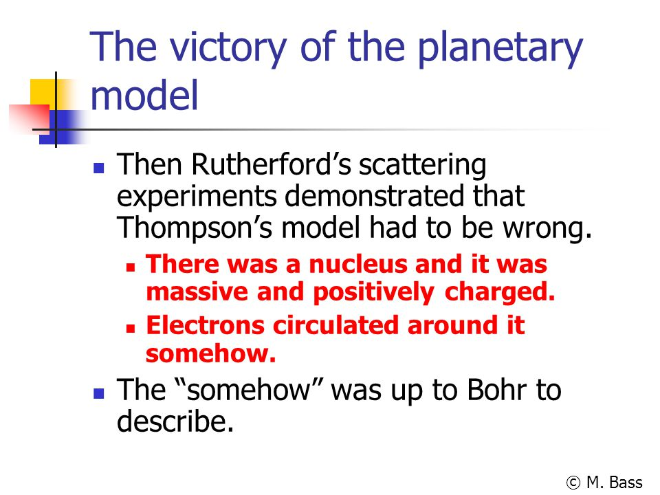 The victory of the planetary model