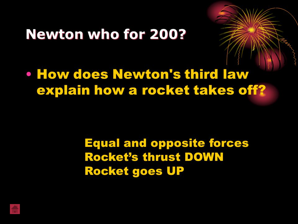 How does Newton s third law explain how a rocket takes off