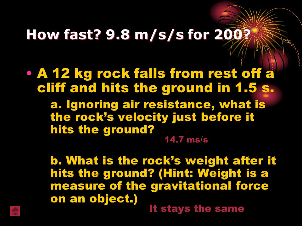 A 12 kg rock falls from rest off a cliff and hits the ground in 1.5 s.
