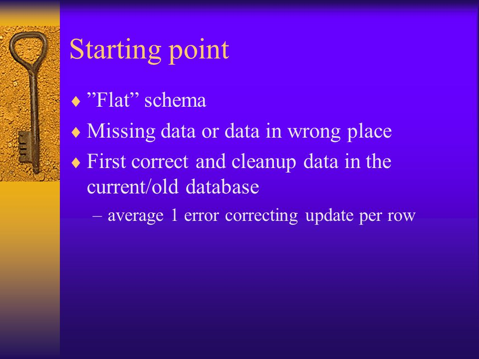 Starting point Flat schema Missing data or data in wrong place