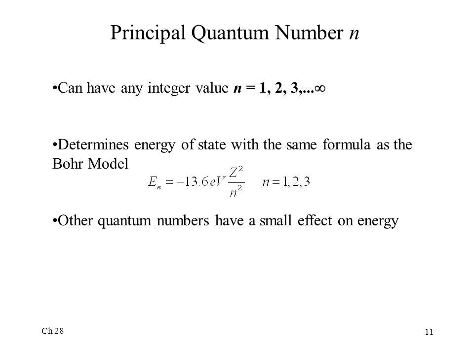 Principal Quantum Number n