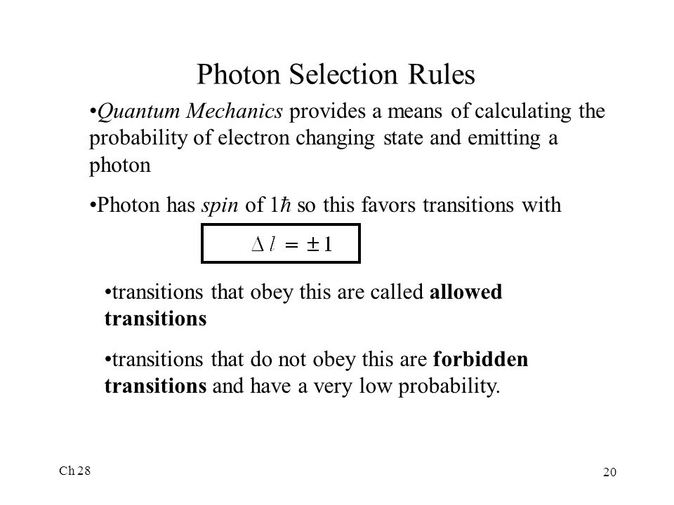 Photon Selection Rules