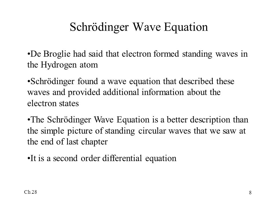 Schrödinger Wave Equation