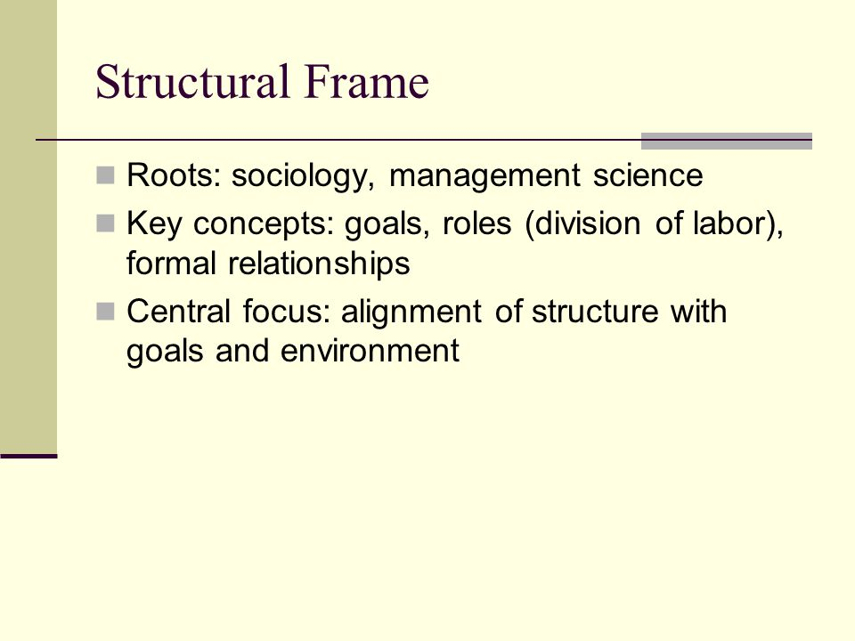 Structural Frame Roots: sociology, management science