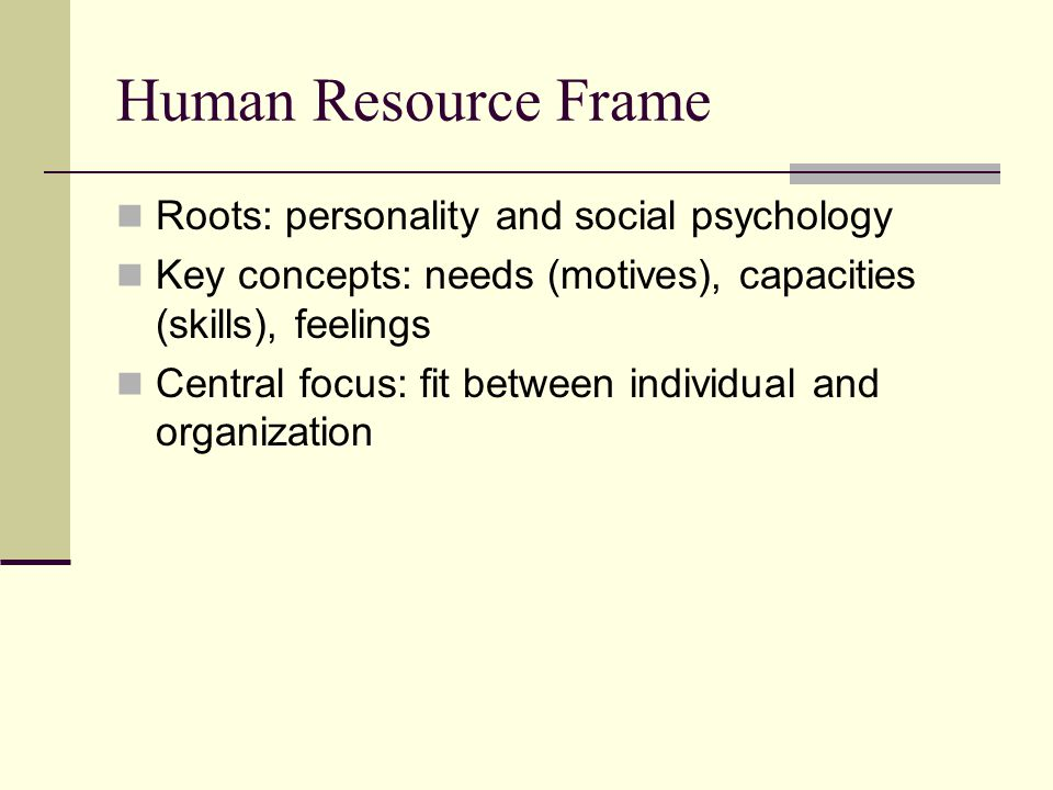 Human Resource Frame Roots: personality and social psychology