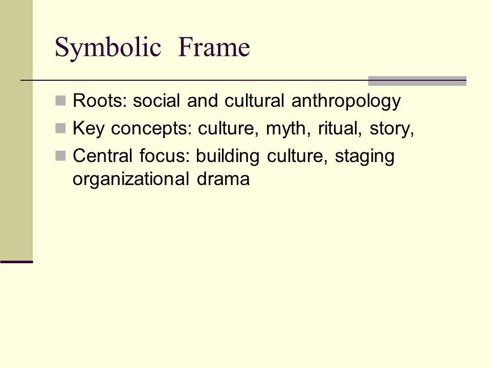 Symbolic Frame Roots: social and cultural anthropology