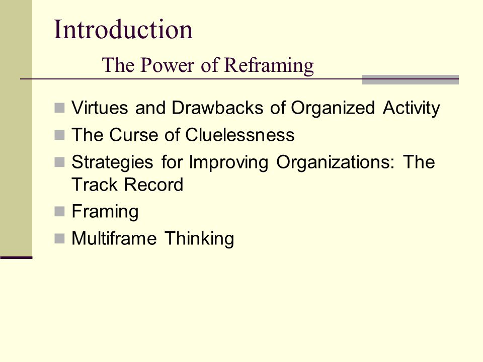 Introduction The Power of Reframing