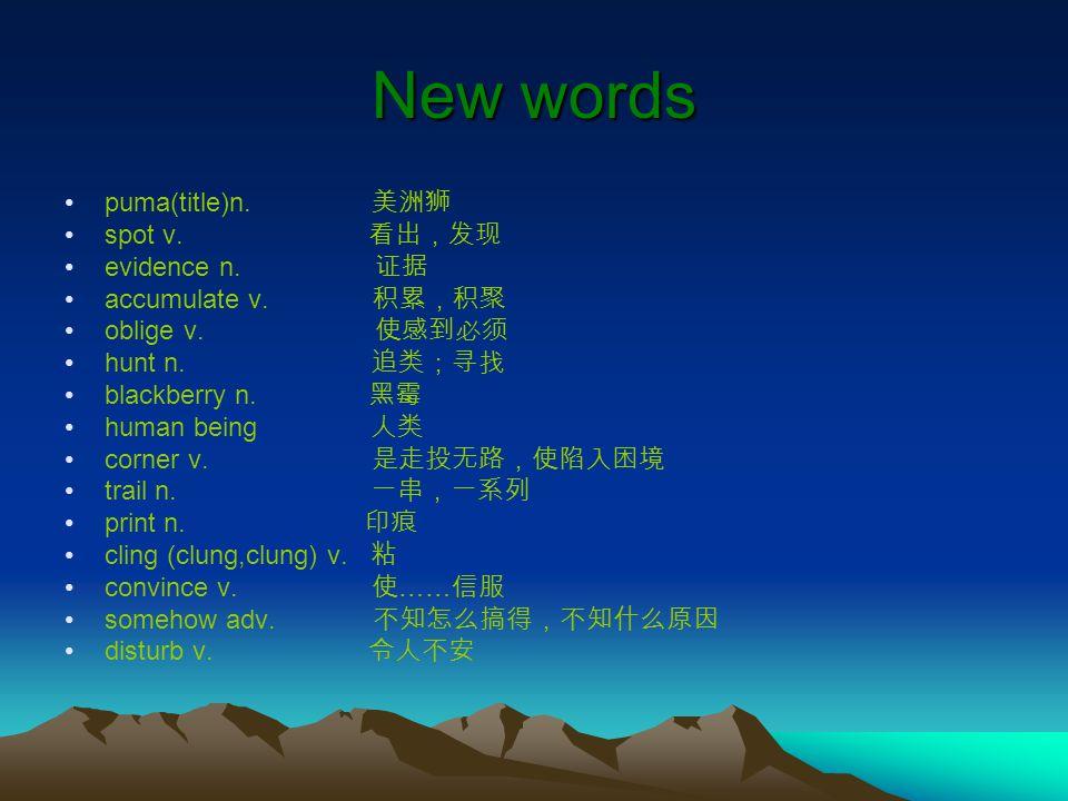 New words puma(title)n. 美洲狮 spot v. 看出,发现 evidence n. 证据