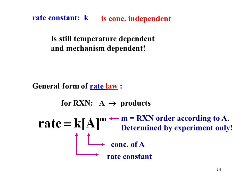 rate constant: k is conc. independent. Is still temperature dependent. and mechanism dependent! General form of rate law :