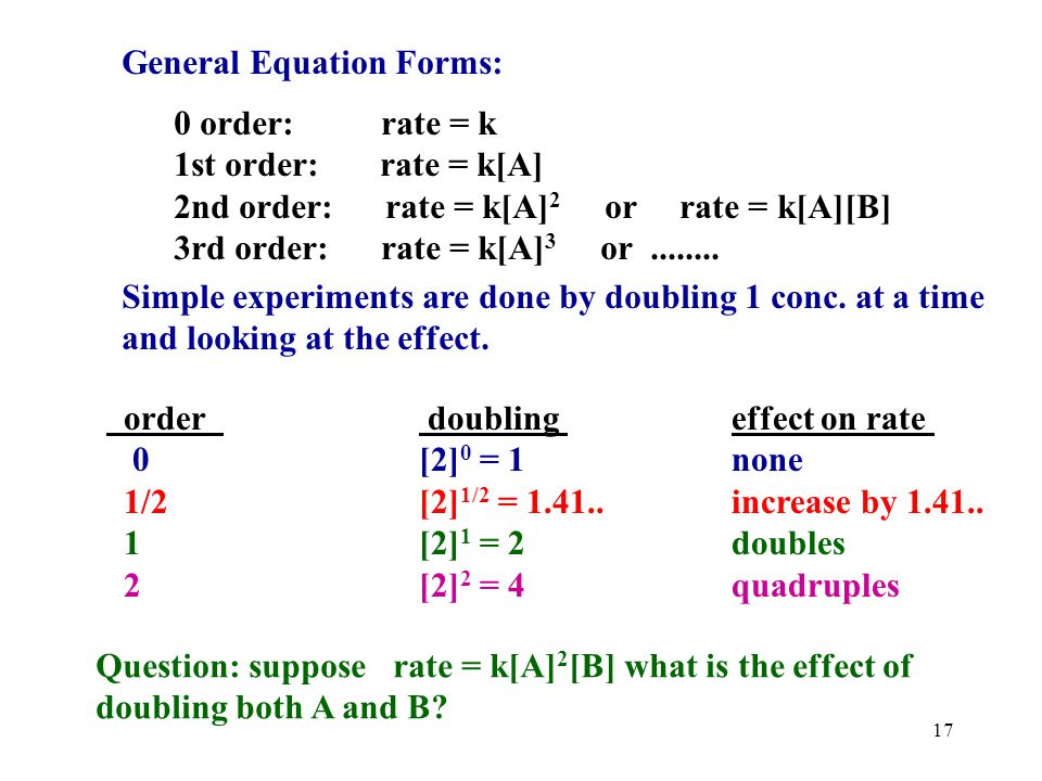 General Equation Forms: