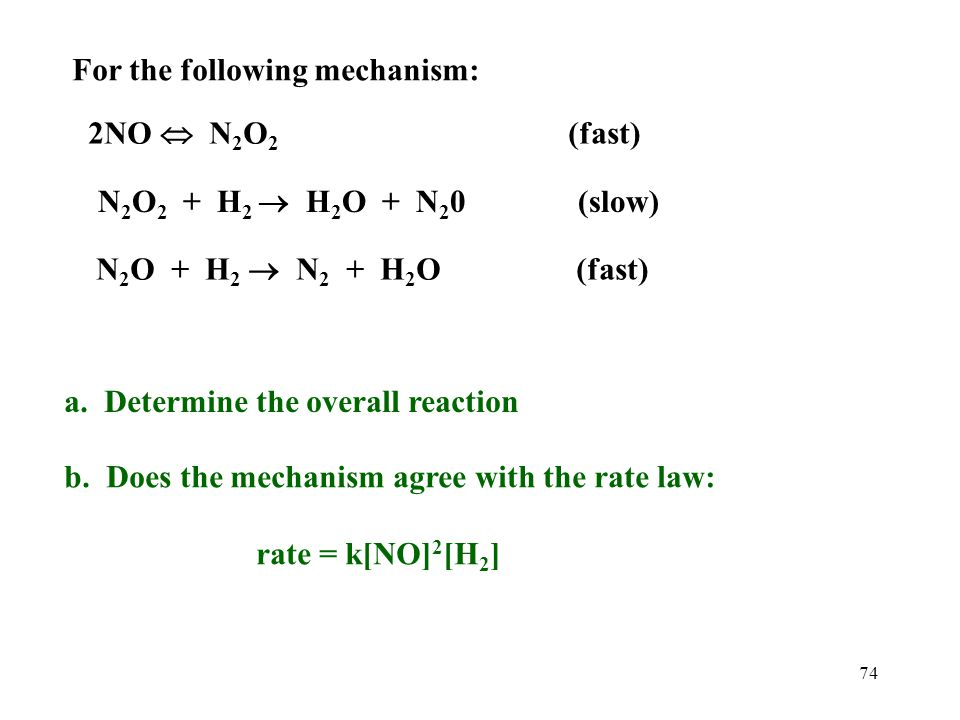 For the following mechanism: