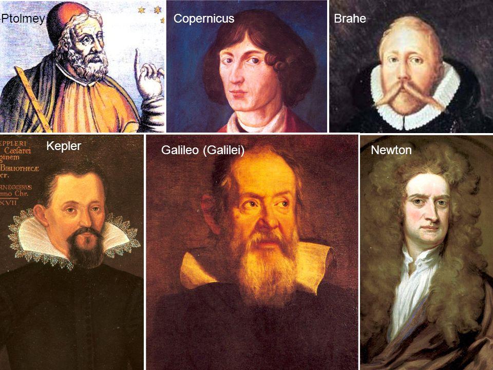 Ptolmey Copernicus Brahe Kepler Galileo (Galilei) Newton