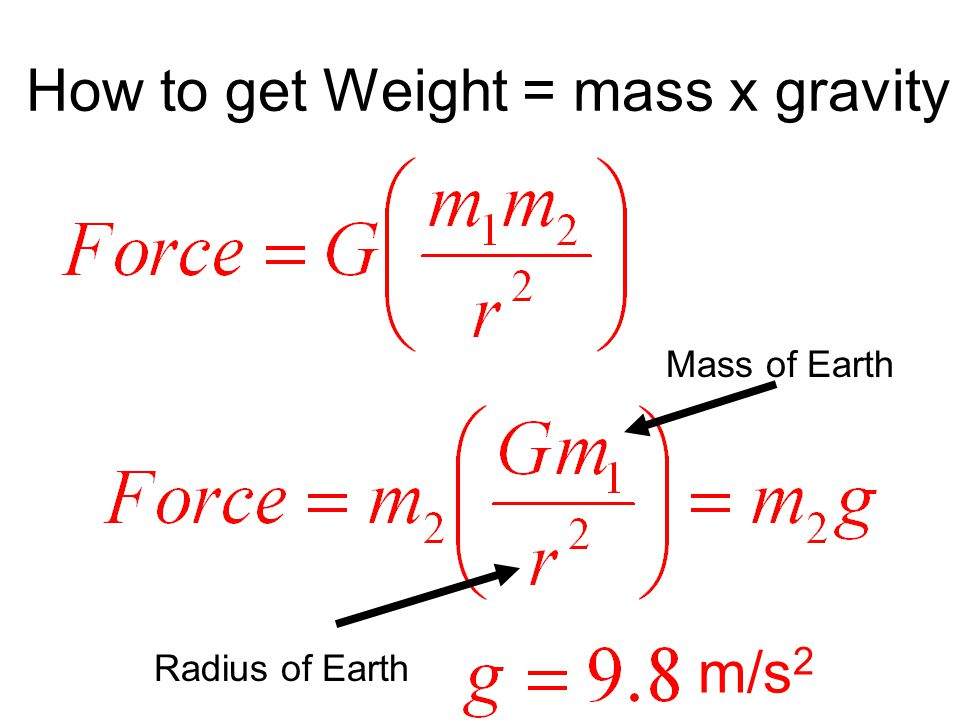 How to get Weight = mass x gravity