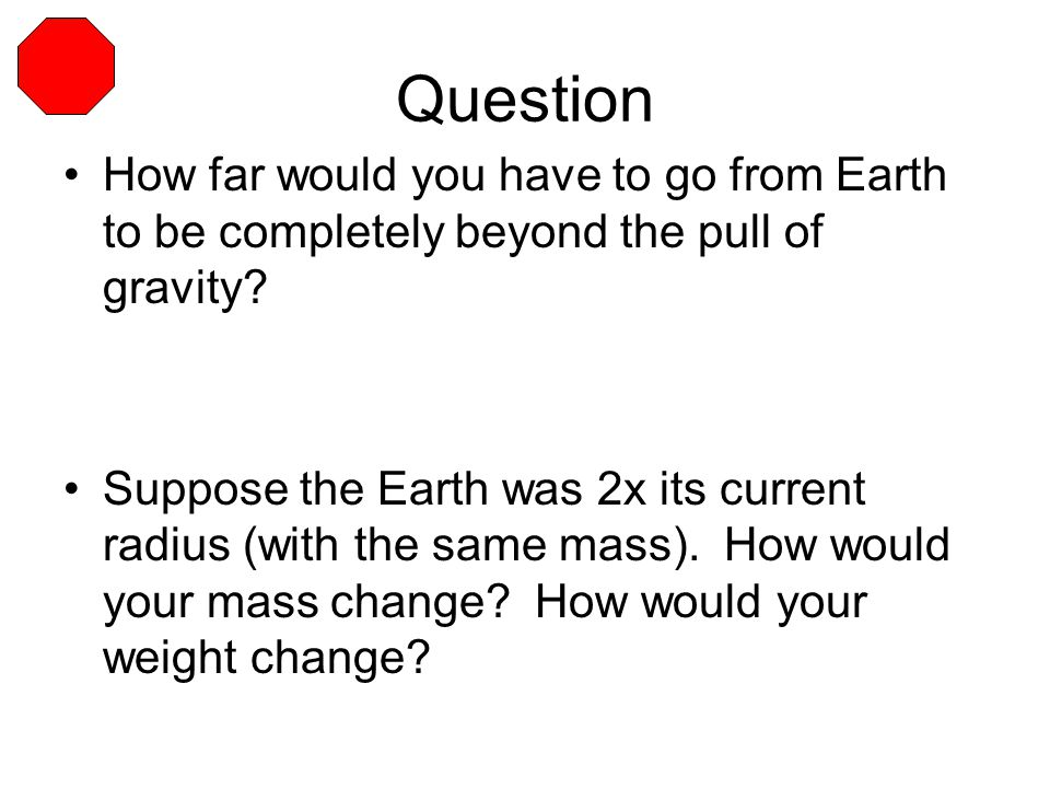 Question How far would you have to go from Earth to be completely beyond the pull of gravity