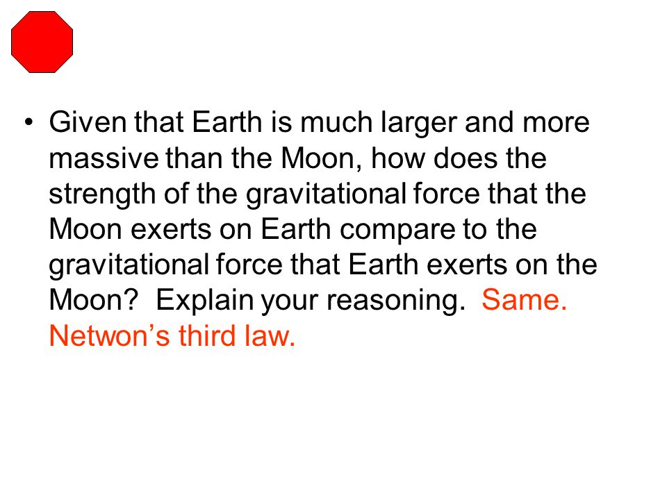 Given that Earth is much larger and more massive than the Moon, how does the strength of the gravitational force that the Moon exerts on Earth compare to the gravitational force that Earth exerts on the Moon.