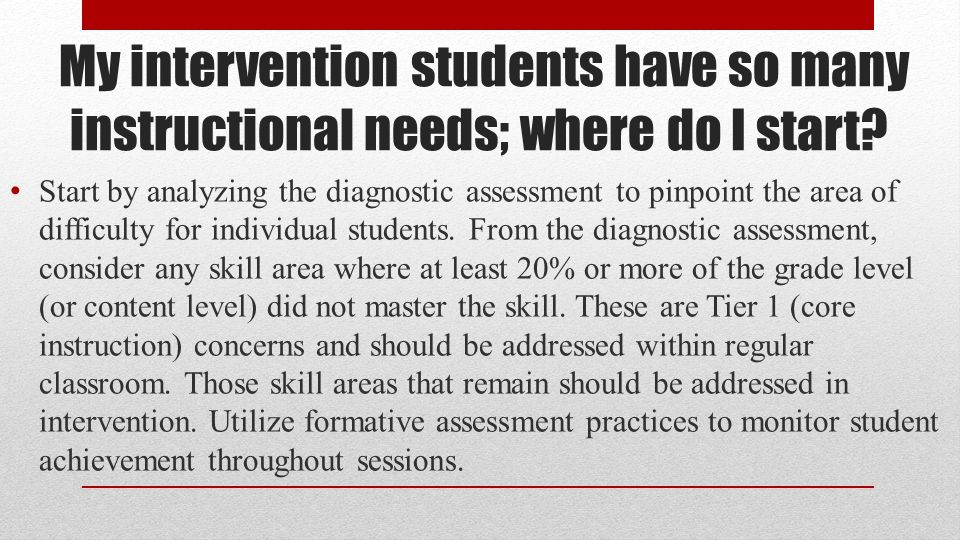 My intervention students have so many instructional needs; where do I start