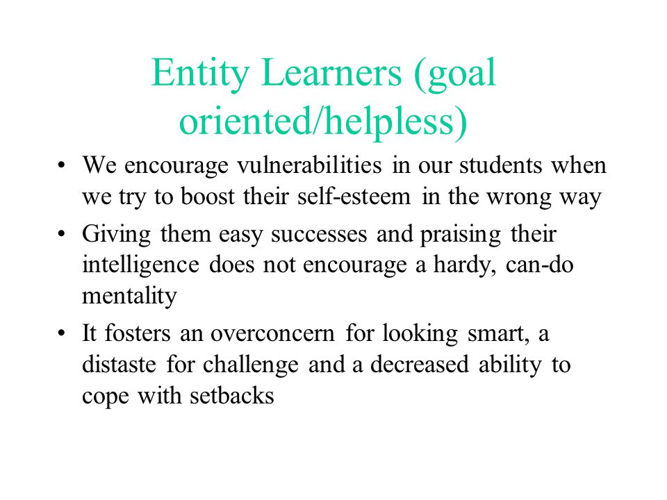 Entity Learners (goal oriented/helpless)